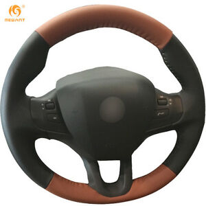 Black And Light Brown Leather Steering Wheel Cover For Peugeot 208 2008 Bz20