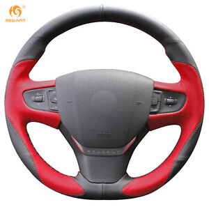 Black And Red Leather Steering Wheel Cover For Peugeot 408 2014 2015 Bz16