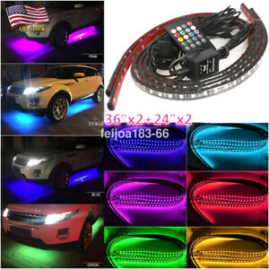 4x 7 Color Led Strip Under Car Tube Underglow Underbody System Neon Lights Rgb