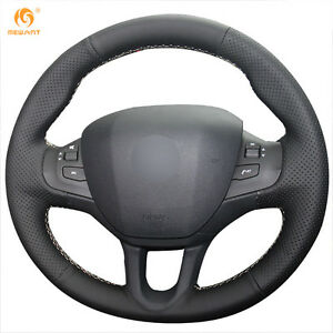 Black Artificial Leather Steering Wheel Cover For Peugeot 208 2008 Bz08