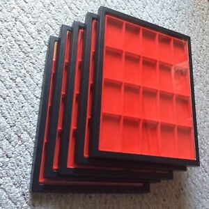 1 Box of 5 12 X 16 X 3 4 Display Cases riker Type With Red Dividers