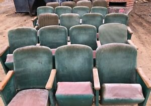 Lot Of 19 Vintage Antique Leather Folding Theater Seats