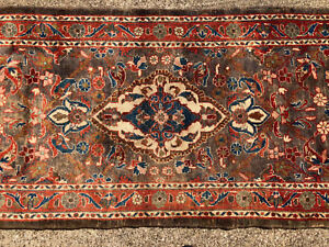 3x10 Persian Runner Rug Wool Hand Knotted Iran Sarouk Rugs Antique Brown 3x11 Ft