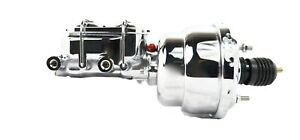7 Street Rod Dual Chrome Power Brake Booster W Dual Chrome Bowl Master Cylinder