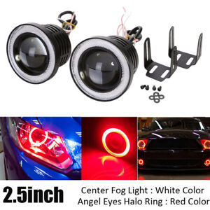 Universal Round 2 5inch Led Fog Light Projector Cob W Red Angel Eyes Halo Ring