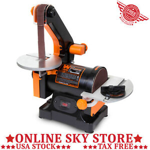 Bench Top Sanding Machine Belt Disk Wood Lumber Table Sander Sharpener Grinder