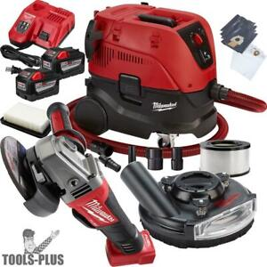 Milwaukee 2780 22hd M18 Fuel 4 1 2 5 Grinder Paddle W hepa Dust Extractor New