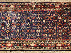 3x11 Blue Persian Runner Rug Hand Knotted Iran Antique Wool Oriental 3x11 3x12