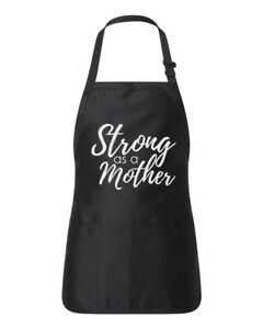 Strong As A Mother Kitchen Apron Pocket Mommy Cooking Gift Mothers Day Christmas