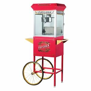 Great Northern Popcorn 6040 Antique Style Popcorn Popper Machine With Cart Red