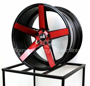 22x10 5 5x112 Str 607 Black W Red Made For Audi Mercedes Low Offset