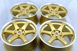18 Gold Wheels Rims Camry Cl Mdx Tl Eclipse Avenger Fusion Accord 300zx 5x114 3