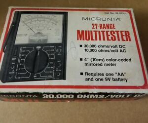 Micronta 27 Range 30 000 Ohms Volt Dc Multitester No 22 203 C In Box Vintage