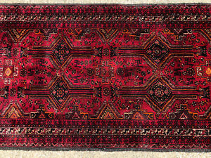 3x9 Red Black Persian Runner Rug Hand Knotted Iran Antique Wool Oriental 3x8 4x9