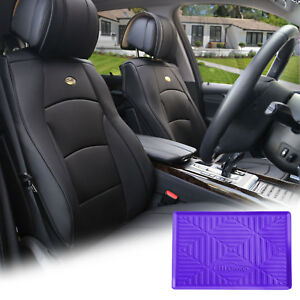Black Leather Auto Seat Covers Cushion Pad Front Buckets With Purple Dash Mat