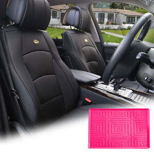 Black Leather Auto Seat Covers Cushion Pad Front Buckets With Magenta Dash Mat