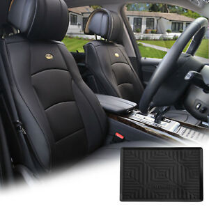 Black Leather Auto Seat Covers Cushion Pad Front Buckets With Dash Mat Combo