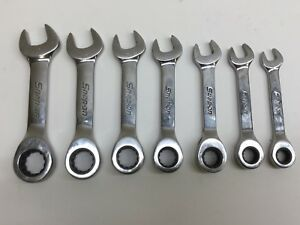 Snap On 7pc 12 Pt Metric Short Ratcheting Box Open End Combo Wrench Set Read