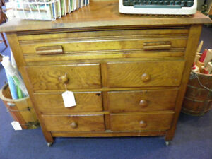 Antique 7 Drawer Oak Dresser