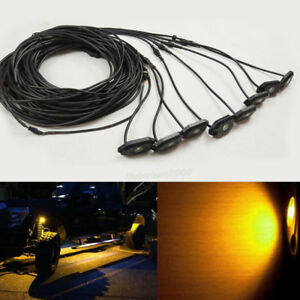 8 Pods Cree Led High Power Amber Rock Lights With Wiring Harness Kit Control Box