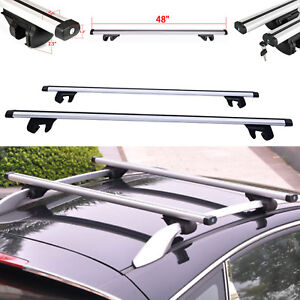 48 Universal Roof Rack Cargo Car Luggage Carrier Traveling Cross Bar Lockable