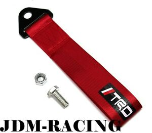 Jdm Trd Racing Universal Front Rear Tow Strap Tow Hook Ribbon Red