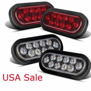 10 Led 6 Ova L4xred white Trailer Truck Stop Turn Backup Tail Light Flush Mount