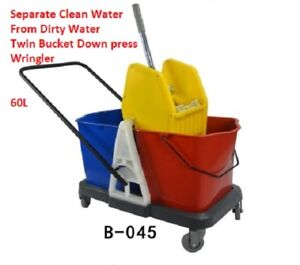 Twin Commercial Mop Bucket Wringer 60l 15 Gal Yel Blue Red Down Press