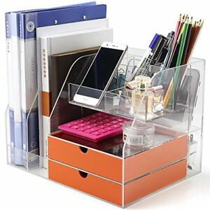 Office Desktop Organizer With Two Drawers For Office Supplies Storage Yellow