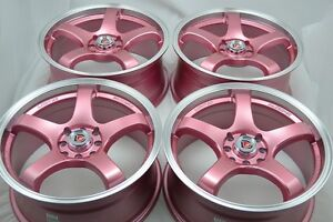 17 Pink Wheels Rims Civic Accord Cooper Miata Cobalt Corolla Xb Tl 4x100 4x114 3