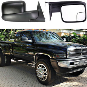 2x Power Heated Black Housing Spotter Towing Mirrors For 94 02 Dodge Ram Glass