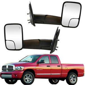 2x Power Heated Folding Housing Towing Mirrors For 02 08 Dodge Ram Glass Black