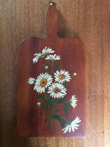 Vintage Tole Painting Cutting Board Brown With White Daisies
