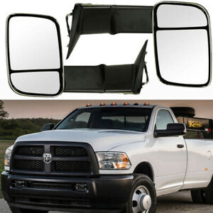 2x Manual Folding Black Housing Towing Mirrors For 02 08 Dodge Ram Tow Glass
