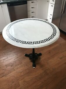 Antique Round Marble Table With Iron Pedestal 29 50h 36 D