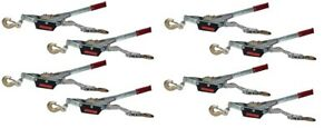 Set Of 8 3 Ton Winches Come Along 2 Hooks Dual Ratchet Gear Hd Over 6000 Lbs