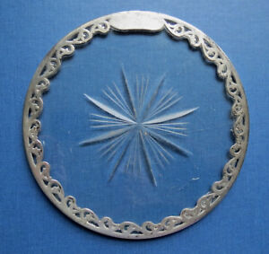 Antique Sterling Silver Overlay Cut Glass Underplate Trivet