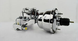7 Dual Chrome Power Brake Booster W Dual Bowl Top Chrome Master Cylinder Pv 2