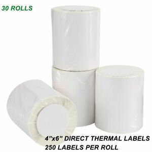 30 Roll 4x6 Direct Thermal Shipping Mailing Blank Labels 250 roll Zebra Lp2844
