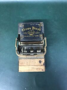 Antique Crown Press Letterpress Hand Printing February 14 1888 As Found