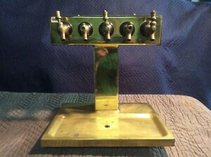 Vintage Brass Glastender 5 Tap Draught Beer Tower