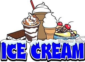Ice Cream Decal choose Your Size Food Truck Concession Sundaes Cones Shakes