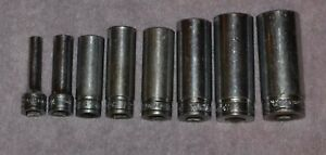 Snap On Tools 8 Piece Mixed Lot Deep Well Sockets 6 Point 3 8 Drive Sfs