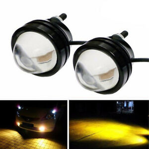 2x Car Fish Eye Led Projector Fog Daytime Running Light Drl Bulb Amber Lamp Tail