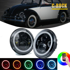 7in Led Headlight Upgrade Lamp High Low Beam With Rgb Halo For Vw Beetle Classic
