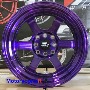 Mst Wheels Time Attack Rims 15x8 0 Purple 4x100 Hellaflush 95 02 Honda Civic Si