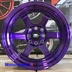 Mst Wheels Time Attack Rims 15x8 0 Purple 4x100 Hellaflush 01 Acura Integra Gsr