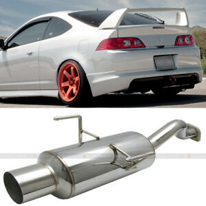 Fit Rsx Dc5 Non S Stainless Steel Bolt On Axle Back Exhaust Muffler Green Tip