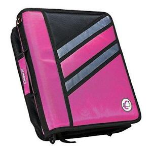 Case it Z binder Two in one 1 5 inch D ring Zipper Binders Pink Z 176 pk