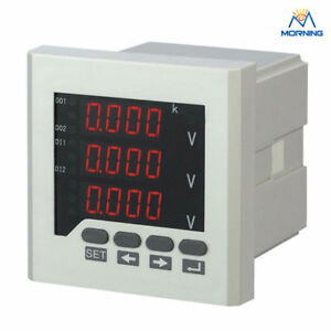 3 Phase Digital Voltmeter Meter Led Display Electric Instrument 80 80mm